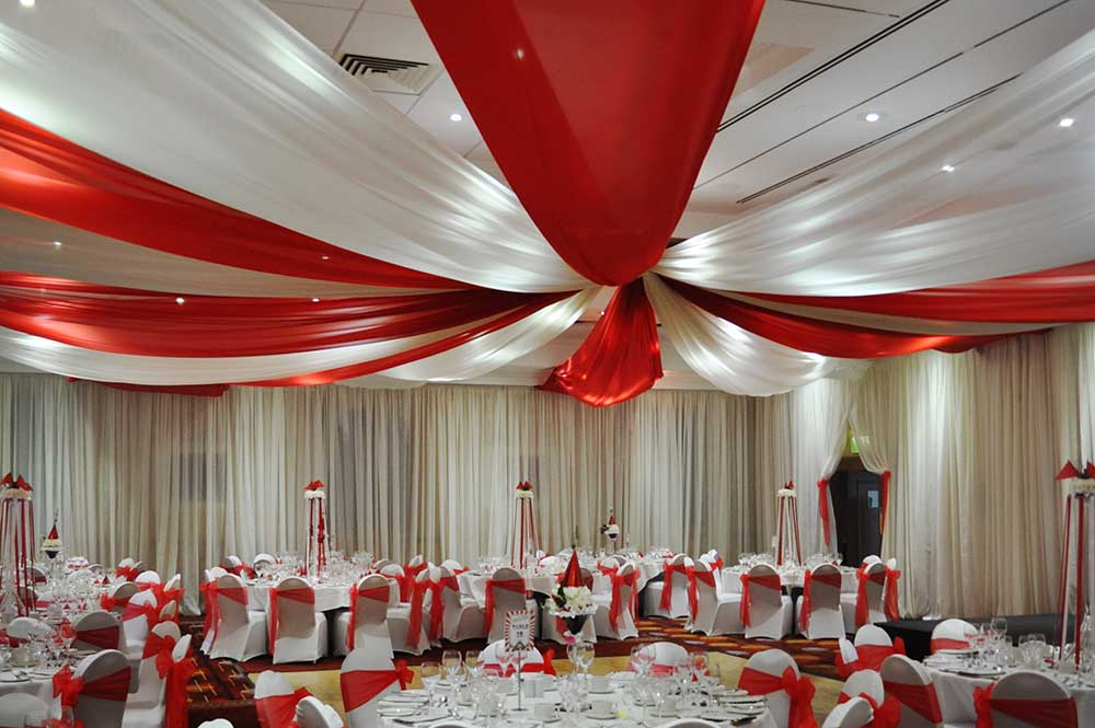 Wall and ceiling drapes at Swindon Marriott Hotel for Weddings and events