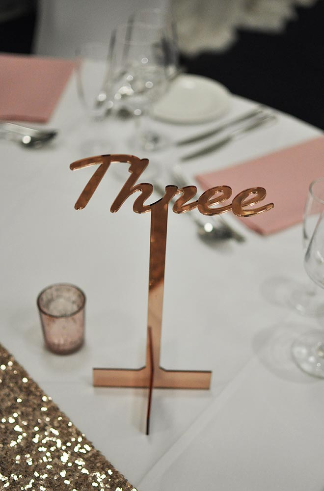 Table centre name in rose gold Laser engraved and cut custom wording